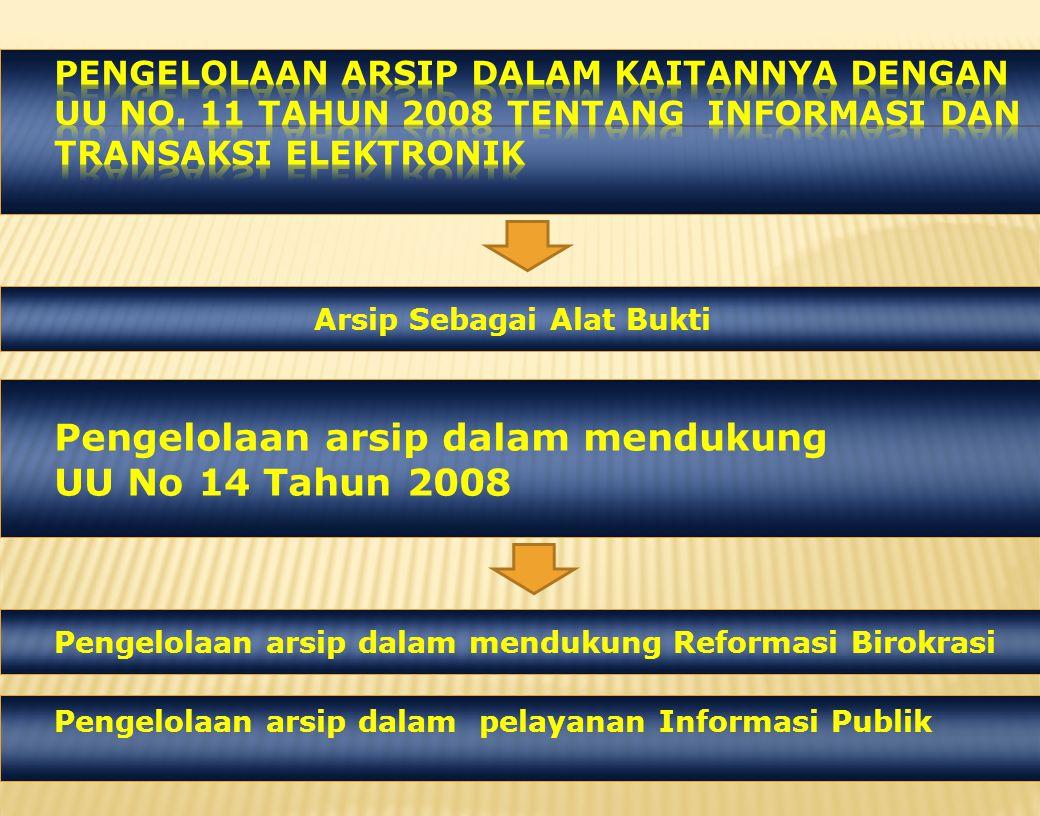 Pengelolaan arsip dalam mendukung UU No 14 Tahun 2008
