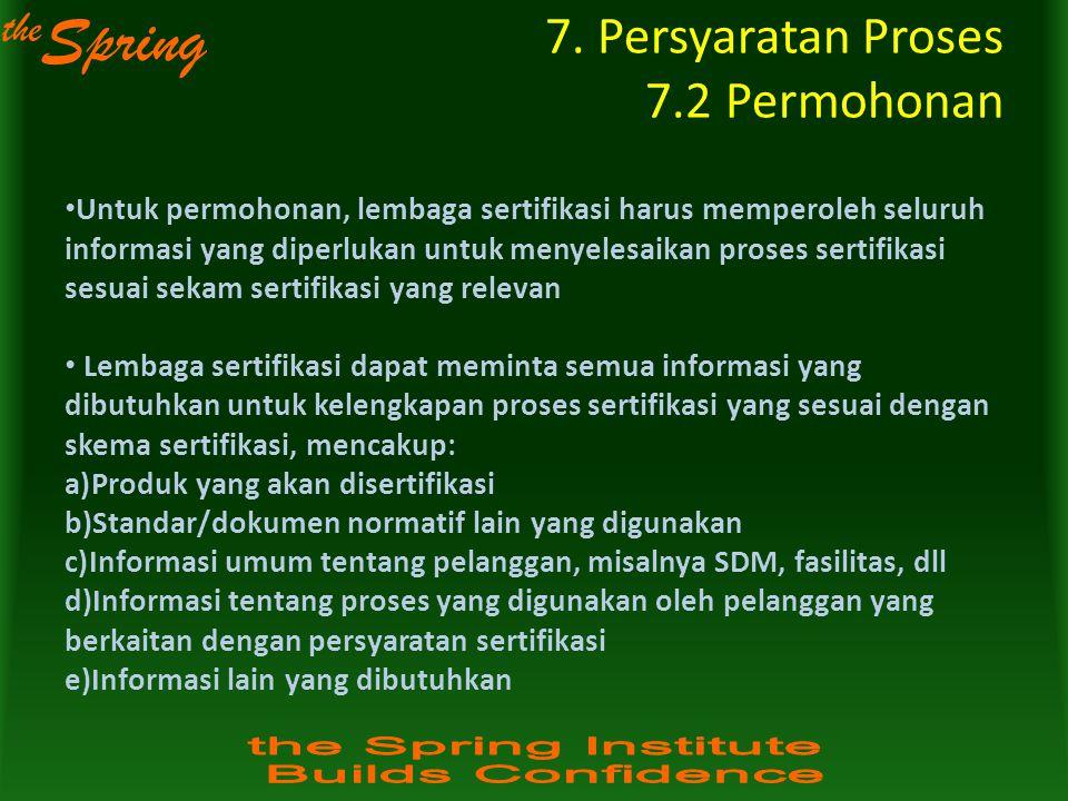 7. Persyaratan Proses 7.2 Permohonan