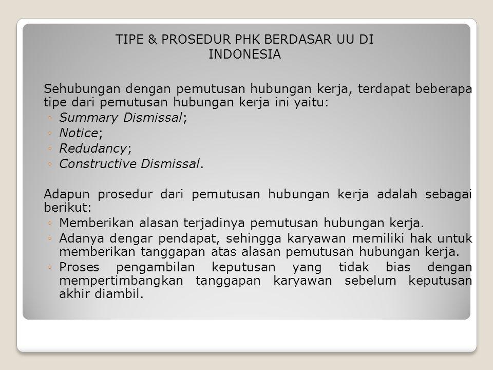 TIPE & PROSEDUR PHK BERDASAR UU DI INDONESIA