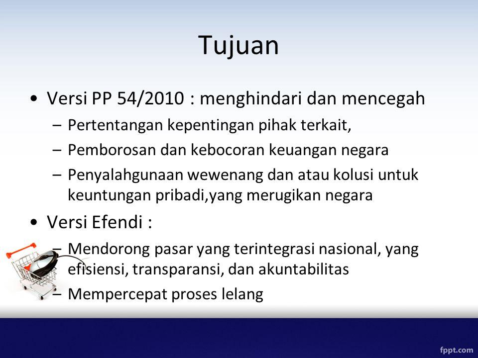Tujuan Versi PP 54/2010 : menghindari dan mencegah Versi Efendi :