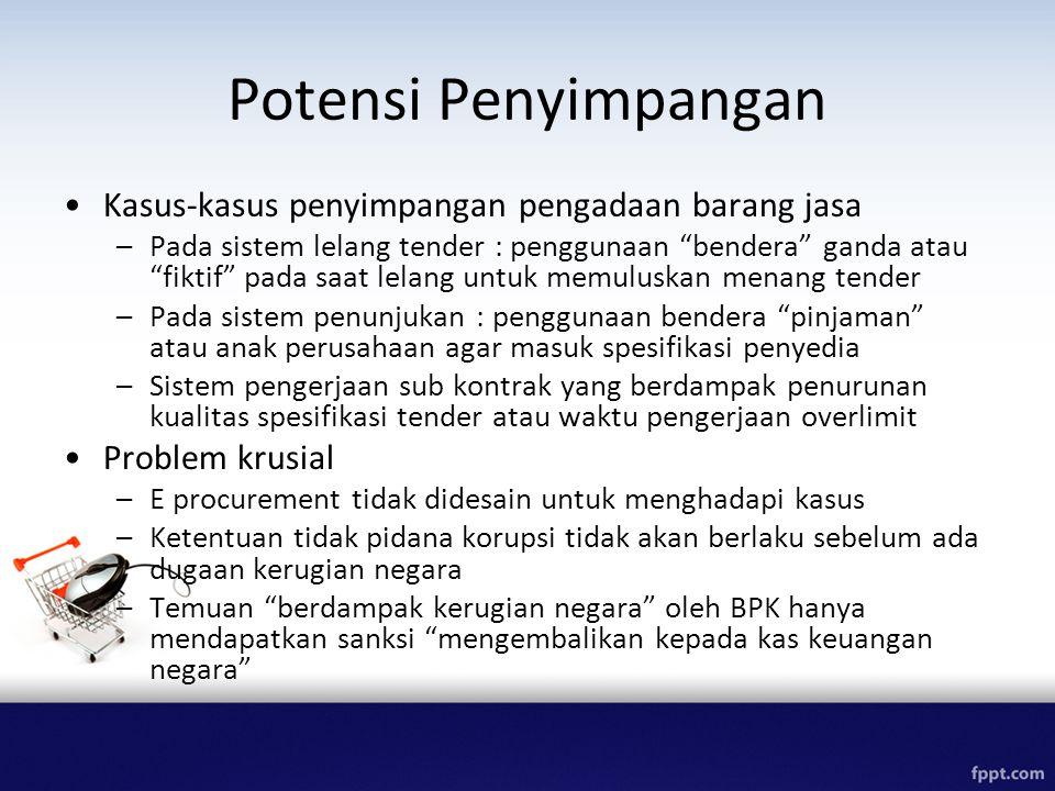 Potensi Penyimpangan Kasus-kasus penyimpangan pengadaan barang jasa