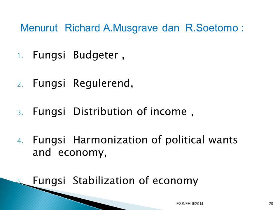 Menurut Richard A.Musgrave dan R.Soetomo : Fungsi Budgeter ,