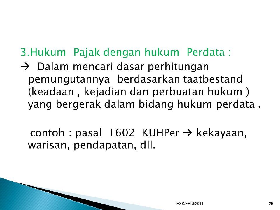 3.Hukum Pajak dengan hukum Perdata :