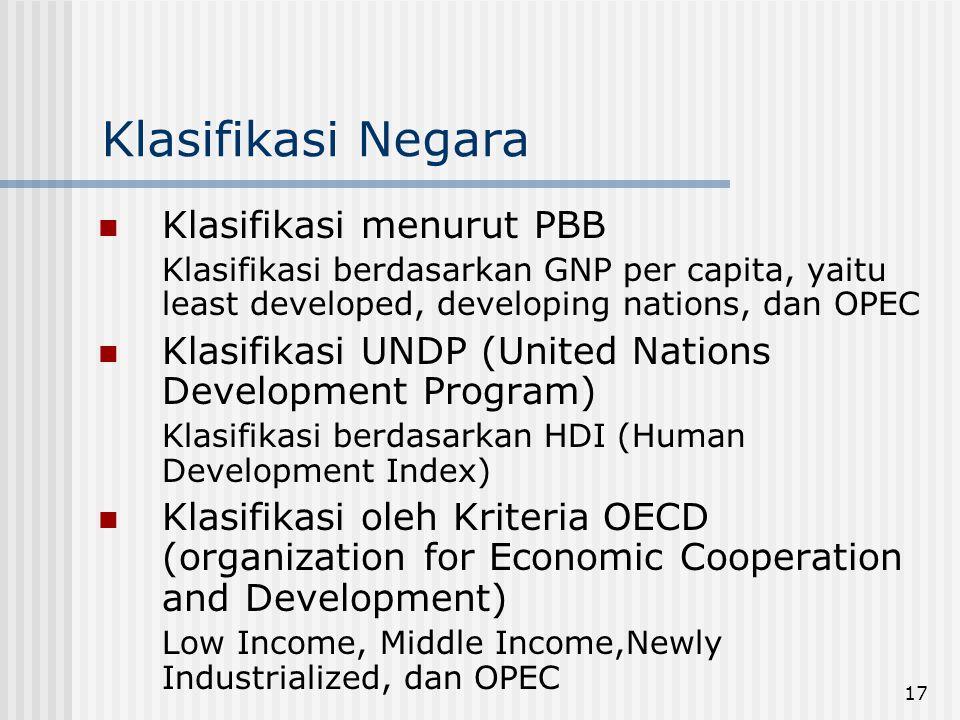 Klasifikasi Negara Klasifikasi menurut PBB