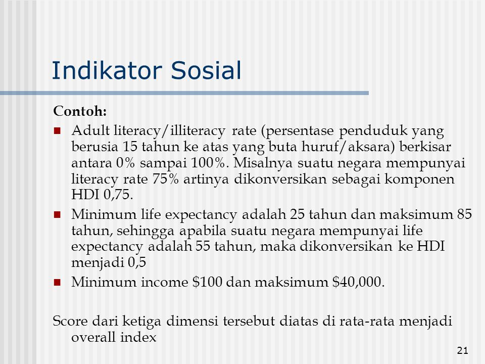 Indikator Sosial Contoh: