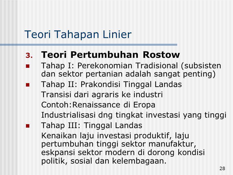Teori Tahapan Linier Teori Pertumbuhan Rostow
