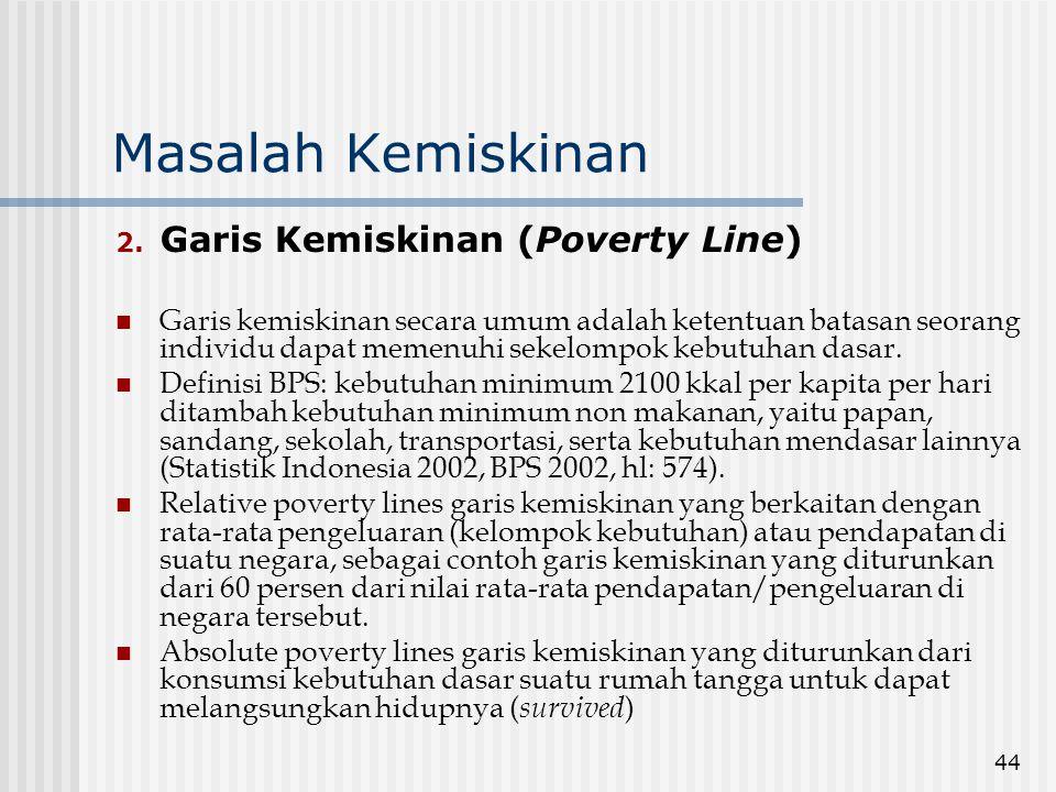 Masalah Kemiskinan Garis Kemiskinan (Poverty Line)