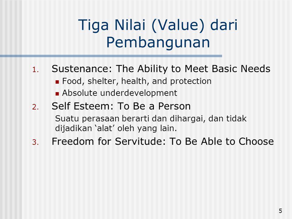 Tiga Nilai (Value) dari Pembangunan