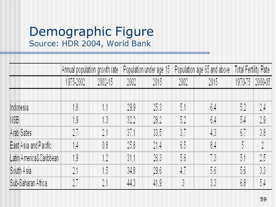 Demographic Figure Source: HDR 2004, World Bank