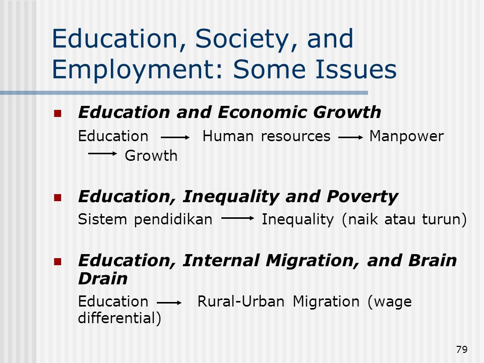 Education, Society, and Employment: Some Issues