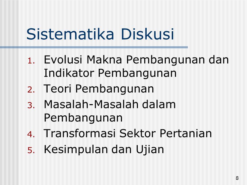 Sistematika Diskusi Evolusi Makna Pembangunan dan Indikator Pembangunan. Teori Pembangunan. Masalah-Masalah dalam Pembangunan.