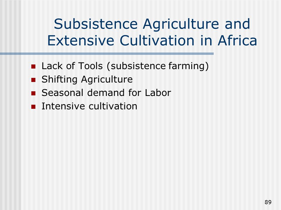 Subsistence Agriculture and Extensive Cultivation in Africa