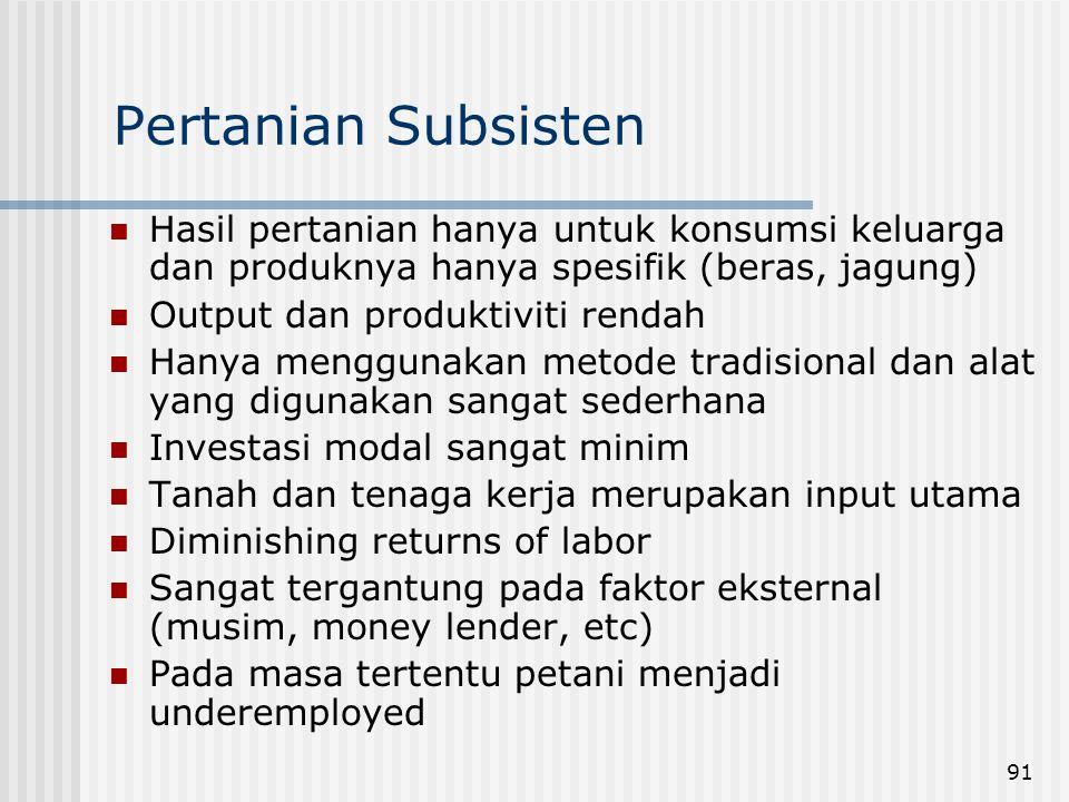 Pertanian Subsisten Hasil pertanian hanya untuk konsumsi keluarga dan produknya hanya spesifik (beras, jagung)