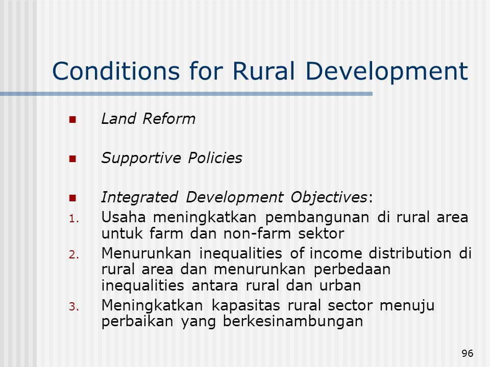 Conditions for Rural Development