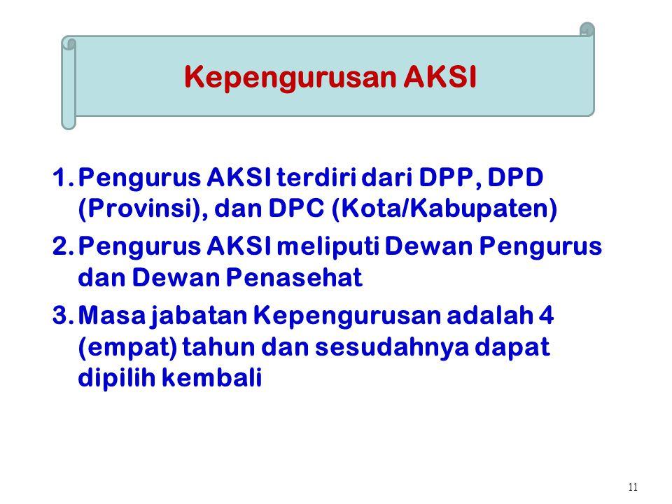 Kepengurusan AKSI Pengurus AKSI terdiri dari DPP, DPD (Provinsi), dan DPC (Kota/Kabupaten) Pengurus AKSI meliputi Dewan Pengurus dan Dewan Penasehat.