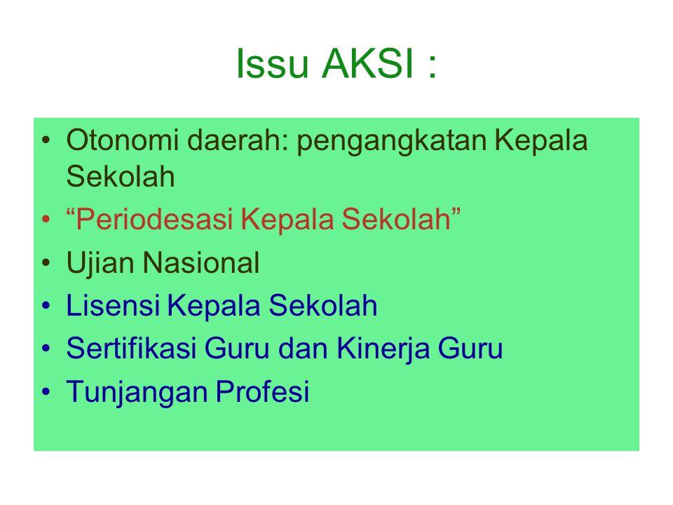 Issu AKSI : Otonomi daerah: pengangkatan Kepala Sekolah