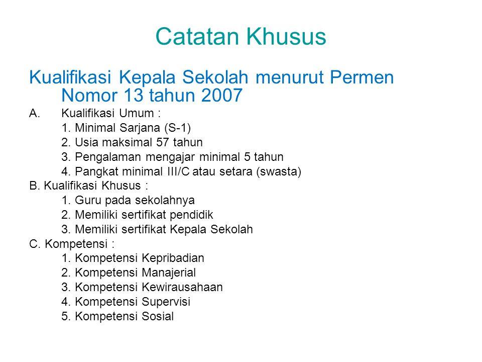 Catatan Khusus Kualifikasi Kepala Sekolah menurut Permen Nomor 13 tahun 2007. Kualifikasi Umum : 1. Minimal Sarjana (S-1)