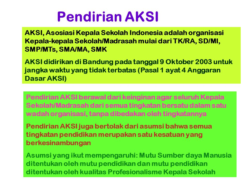 Pendirian AKSI AKSI, Asosiasi Kepala Sekolah Indonesia adalah organisasi Kepala-kepala Sekolah/Madrasah mulai dari TK/RA, SD/MI, SMP/MTs, SMA/MA, SMK.
