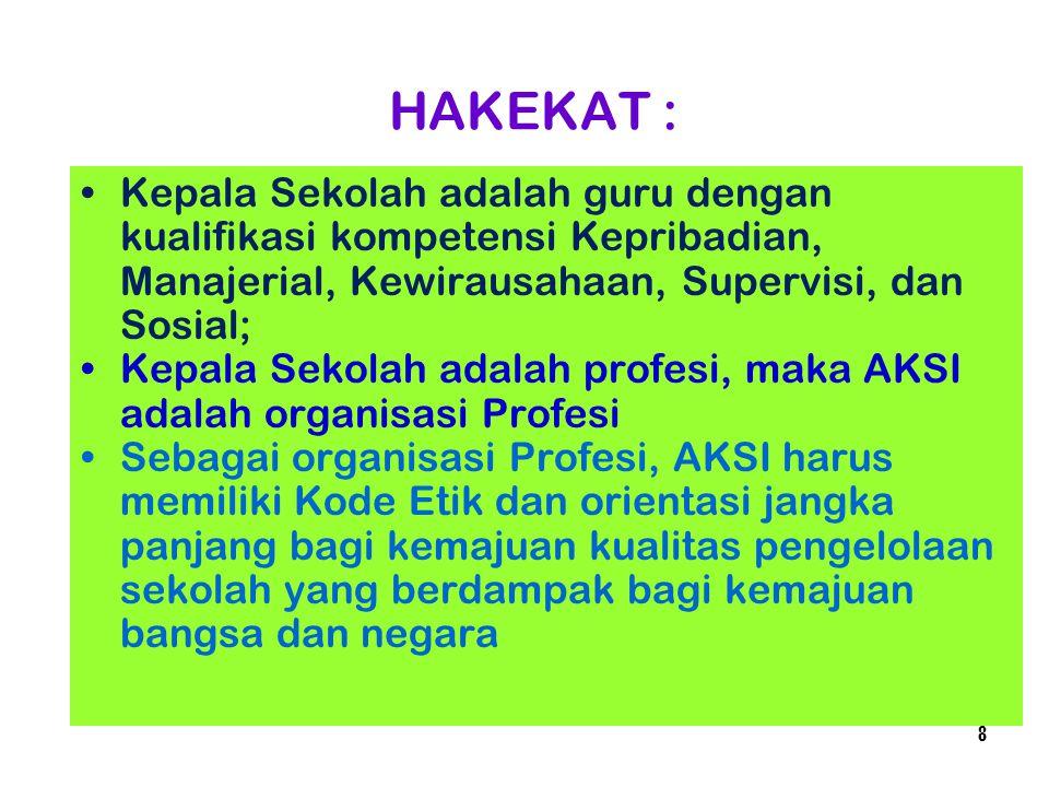 HAKEKAT : Kepala Sekolah adalah guru dengan kualifikasi kompetensi Kepribadian, Manajerial, Kewirausahaan, Supervisi, dan Sosial;