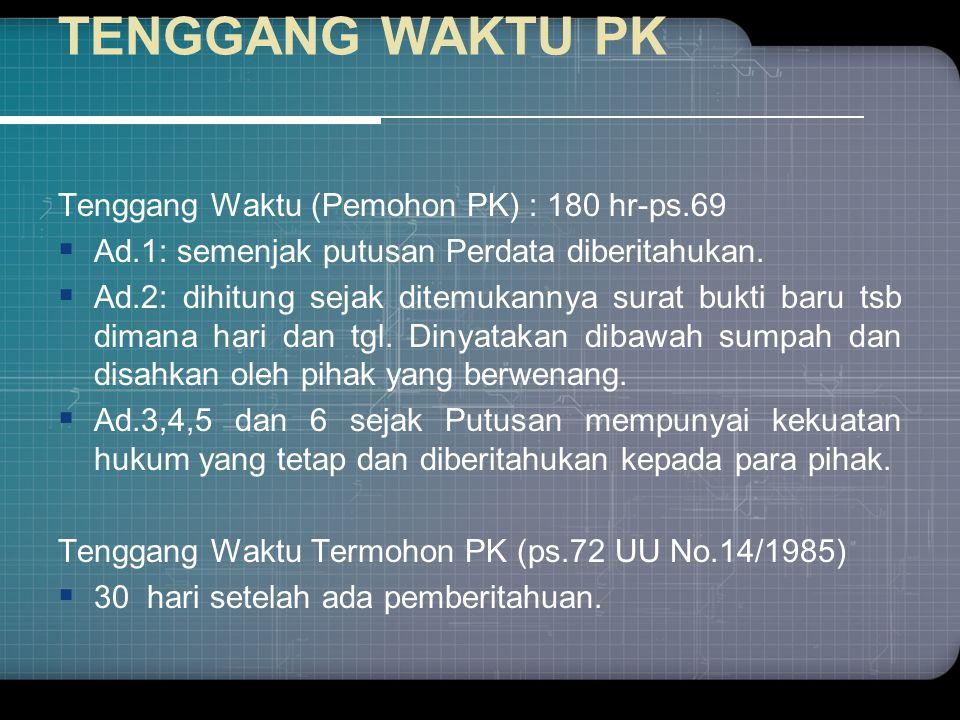 TENGGANG WAKTU PK Tenggang Waktu (Pemohon PK) : 180 hr-ps.69