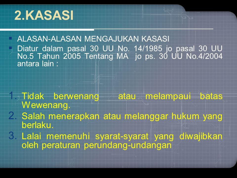 2.KASASI Tidak berwenang atau melampaui batas Wewenang.