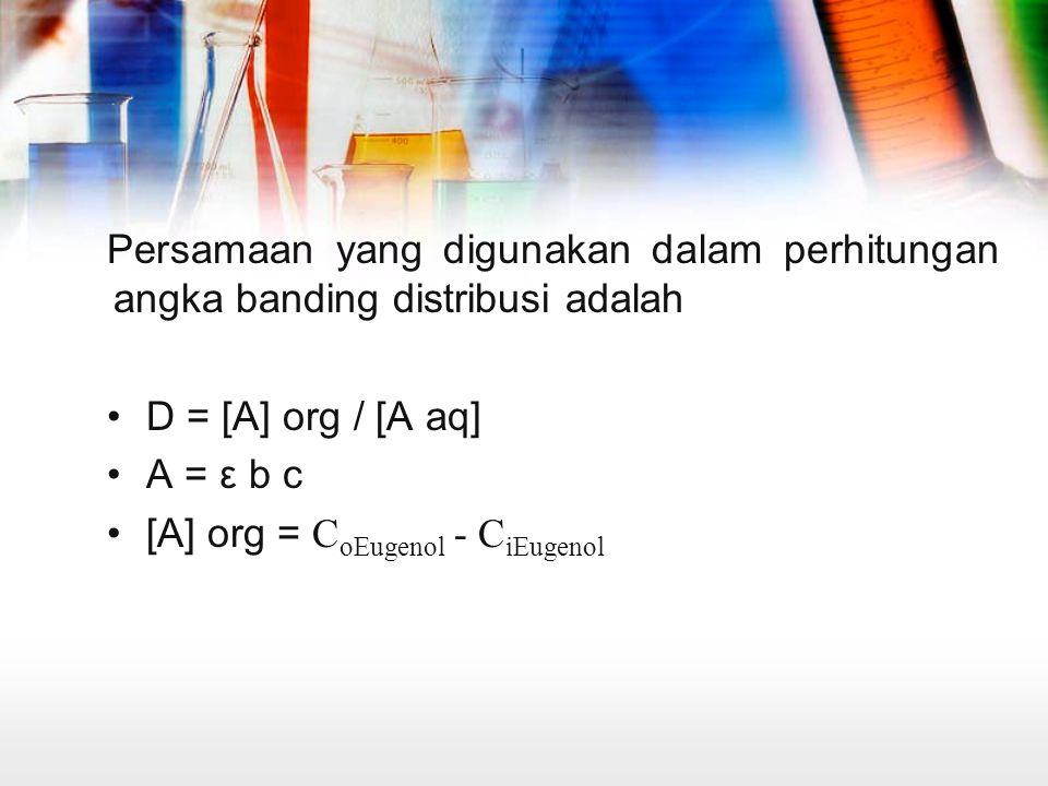 Persamaan yang digunakan dalam perhitungan angka banding distribusi adalah
