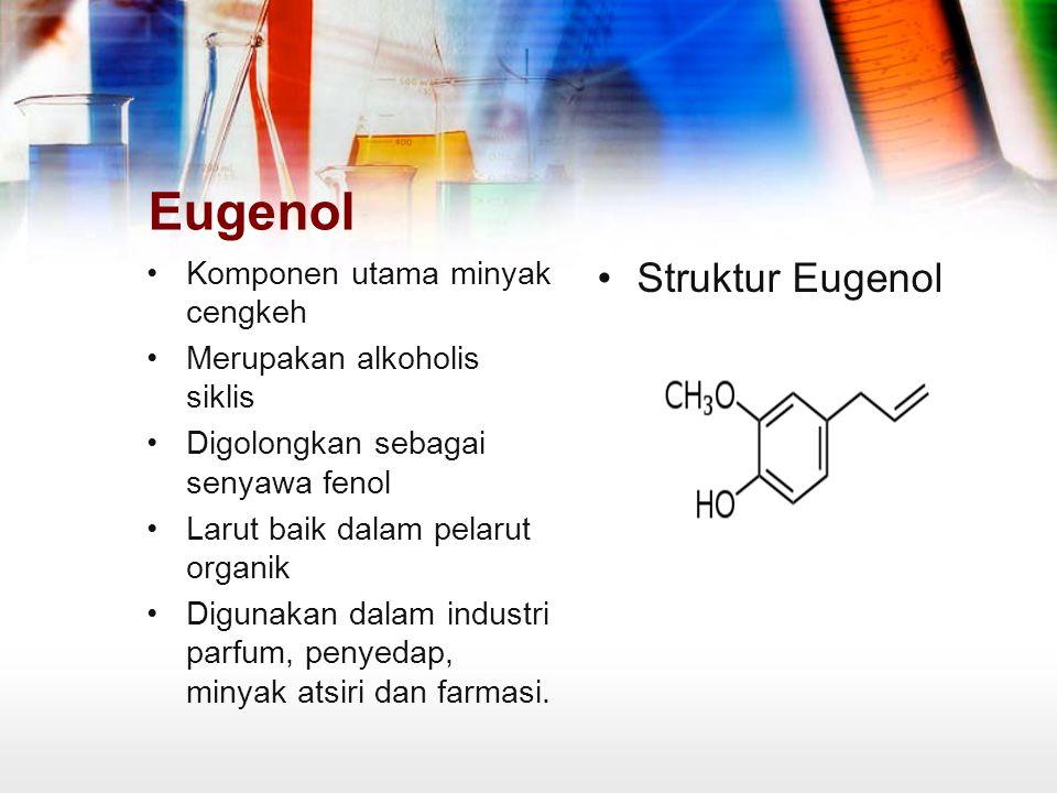 Eugenol Struktur Eugenol Komponen utama minyak cengkeh