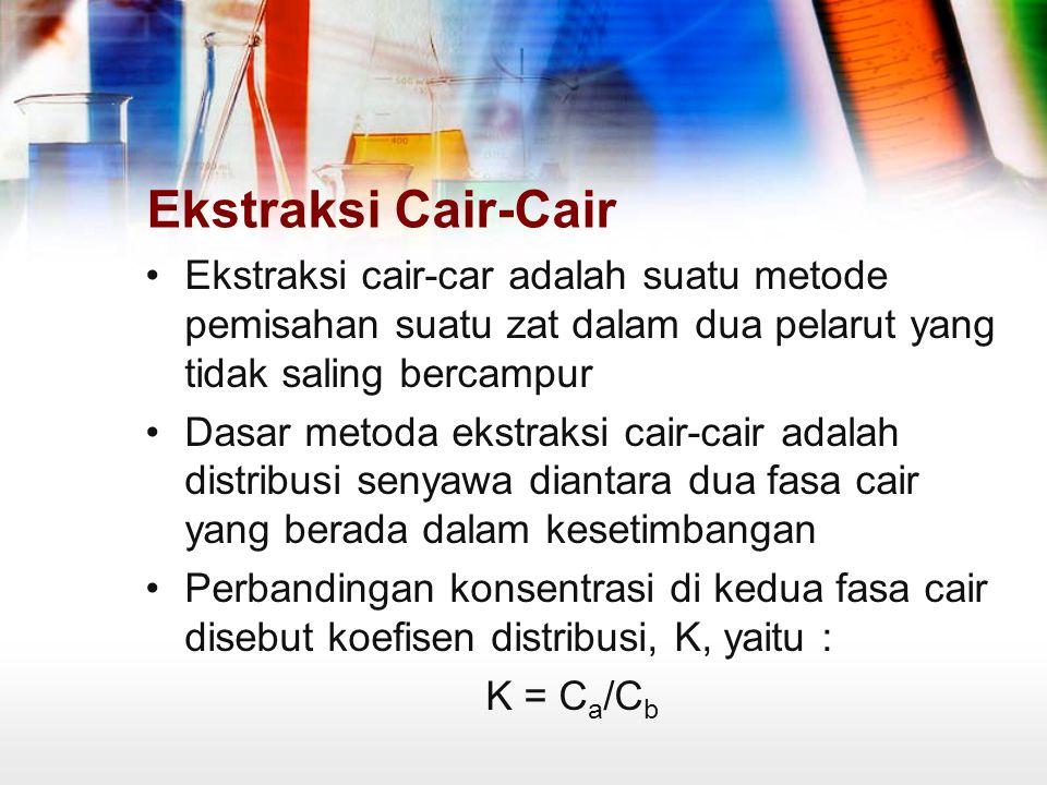 Ekstraksi Cair-Cair Ekstraksi cair-car adalah suatu metode pemisahan suatu zat dalam dua pelarut yang tidak saling bercampur.