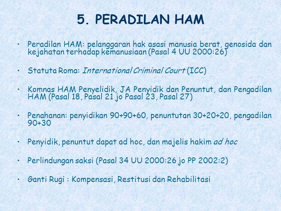 5. PERADILAN HAM Peradilan HAM: pelanggaran hak asasi manusia berat, genosida dan kejahatan terhadap kemanusiaan (Pasal 4 UU 2000:26)
