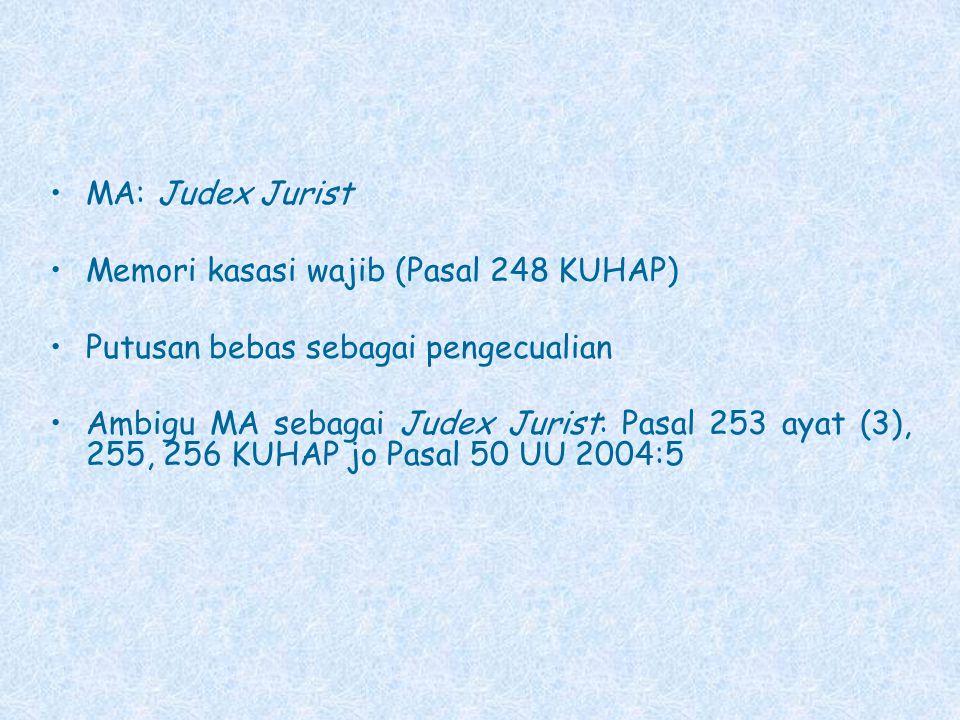 MA: Judex Jurist Memori kasasi wajib (Pasal 248 KUHAP) Putusan bebas sebagai pengecualian.