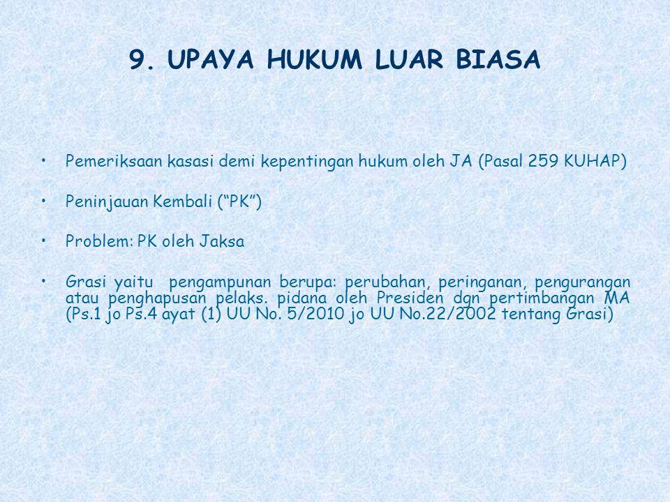 9. UPAYA HUKUM LUAR BIASA Pemeriksaan kasasi demi kepentingan hukum oleh JA (Pasal 259 KUHAP) Peninjauan Kembali ( PK )