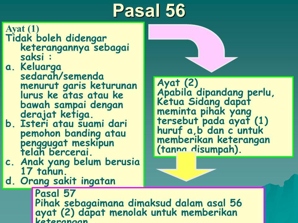 Pasal 56 Ayat (1) Tidak boleh didengar keterangannya sebagai saksi :