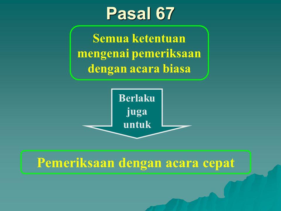 Pasal 67 Pemeriksaan dengan acara cepat