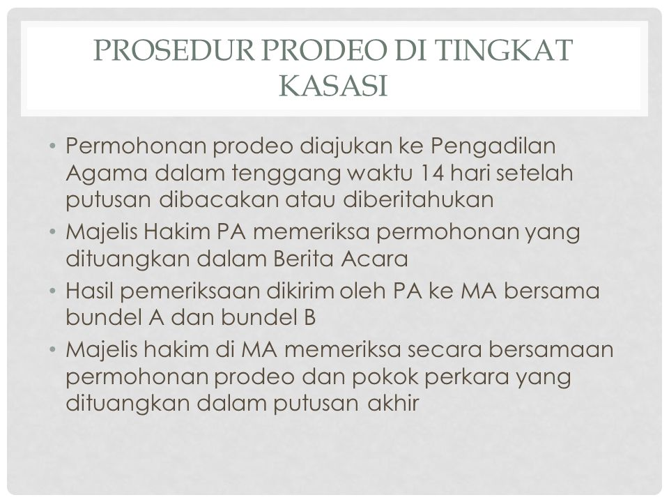 Prosedur Prodeo di TINGKAT KASASI