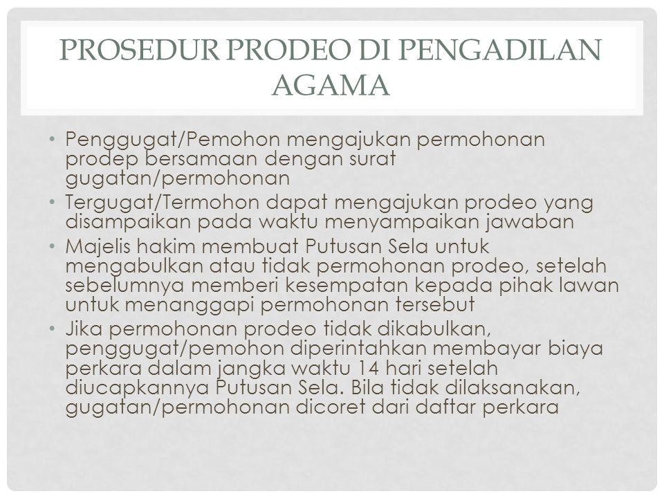 Prosedur Prodeo di Pengadilan Agama