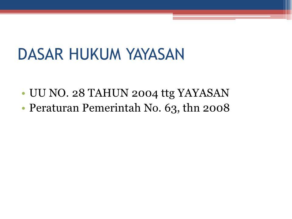 DASAR HUKUM YAYASAN UU NO. 28 TAHUN 2004 ttg YAYASAN