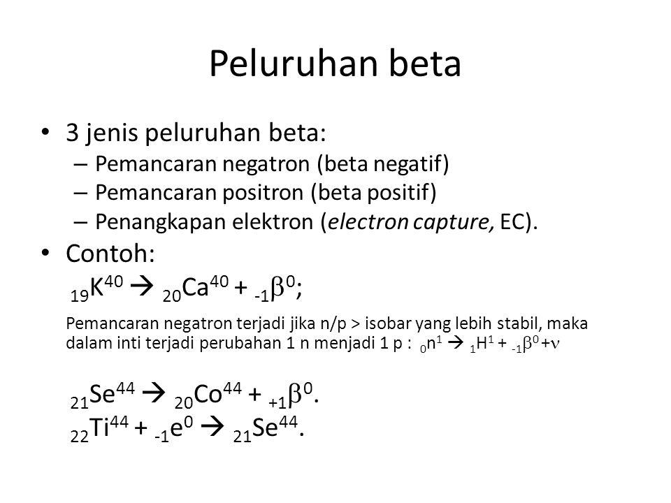 Peluruhan beta 3 jenis peluruhan beta: Contoh: 19K40  20Ca40 + -10;