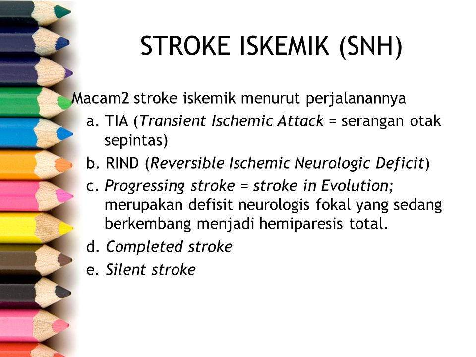 STROKE ISKEMIK (SNH) Macam2 stroke iskemik menurut perjalanannya