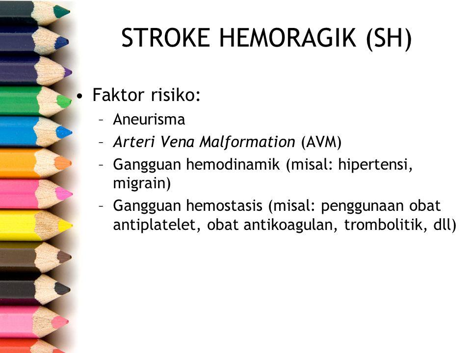 STROKE HEMORAGIK (SH) Faktor risiko: Aneurisma