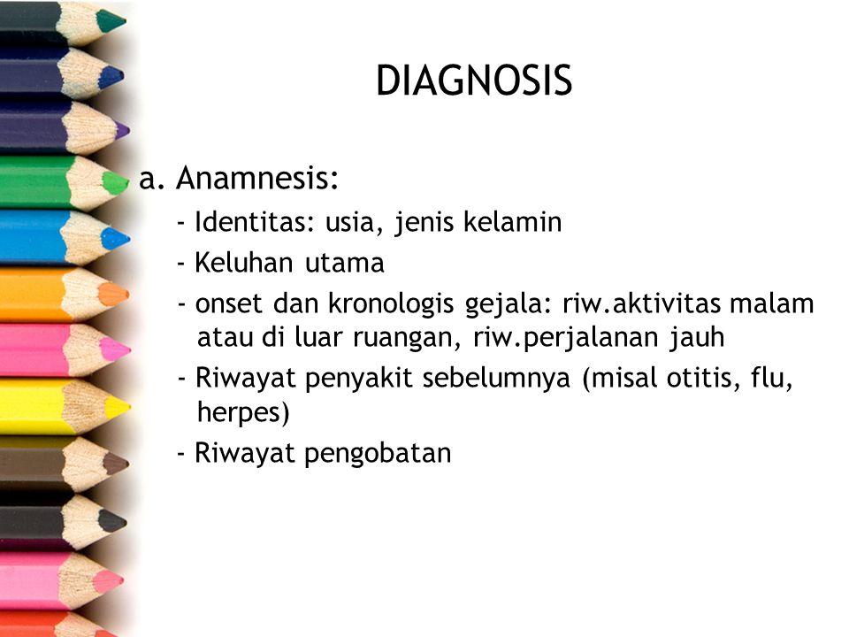 DIAGNOSIS Anamnesis: - Identitas: usia, jenis kelamin - Keluhan utama