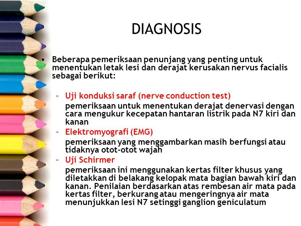 DIAGNOSIS Beberapa pemeriksaan penunjang yang penting untuk menentukan letak lesi dan derajat kerusakan nervus facialis sebagai berikut: