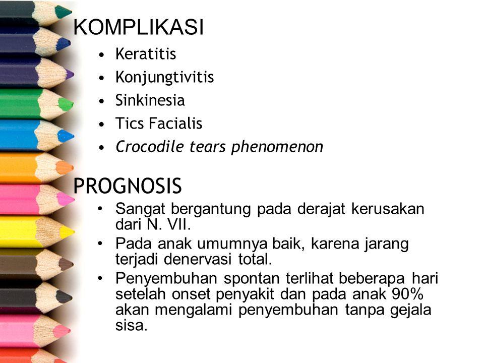 KOMPLIKASI PROGNOSIS Keratitis Konjungtivitis Sinkinesia Tics Facialis