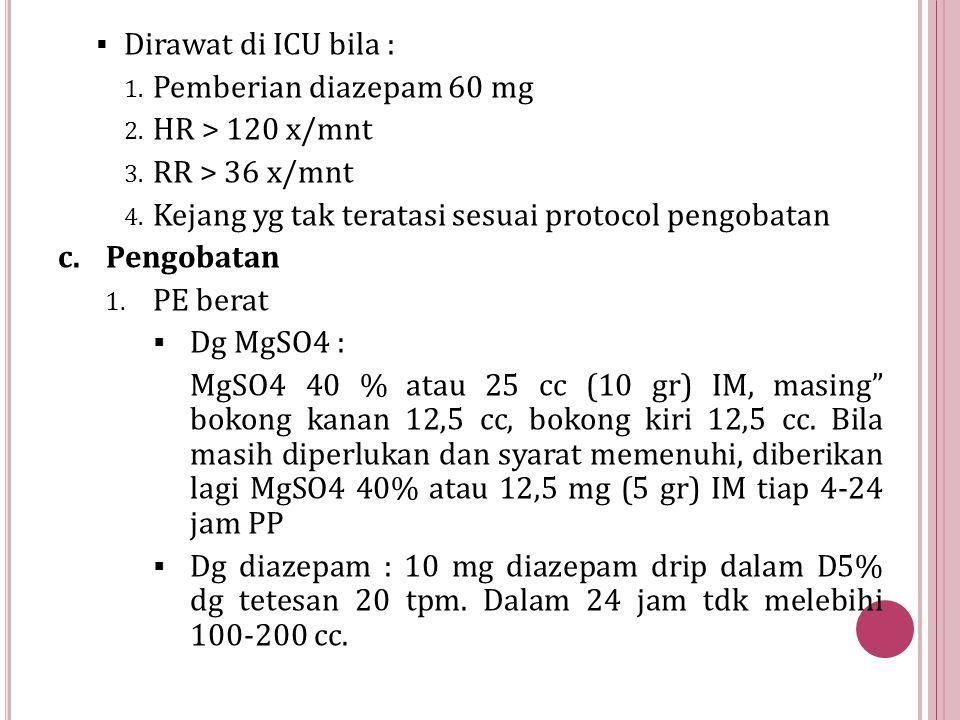 Dirawat di ICU bila : Pemberian diazepam 60 mg. HR > 120 x/mnt. RR > 36 x/mnt. Kejang yg tak teratasi sesuai protocol pengobatan.
