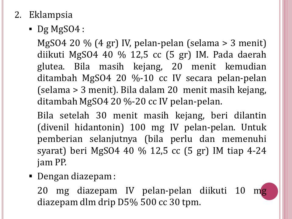 Eklampsia Dg MgSO4 :