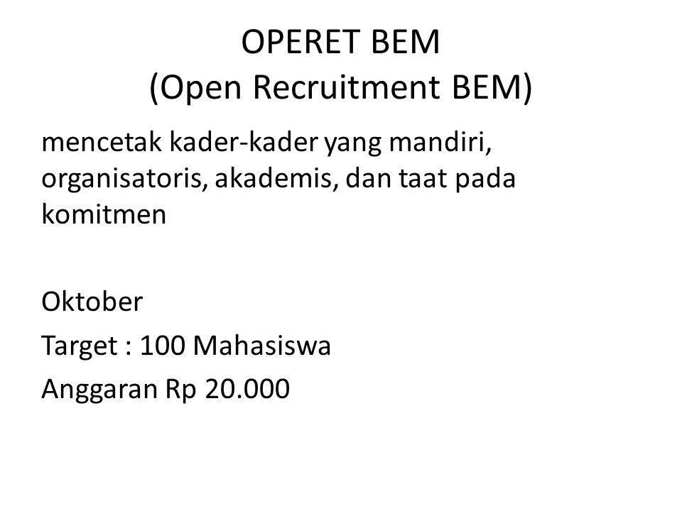 OPERET BEM (Open Recruitment BEM)