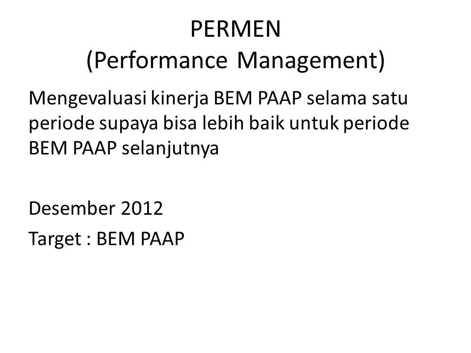 PERMEN (Performance Management)
