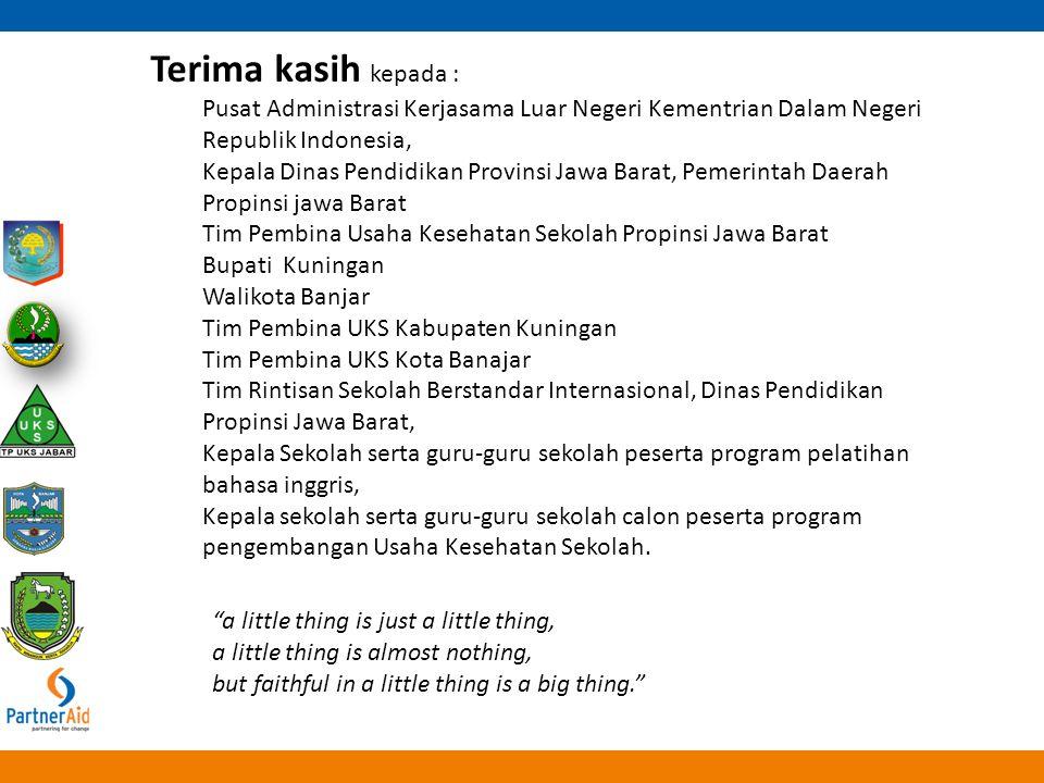 Terima kasih kepada : Pusat Administrasi Kerjasama Luar Negeri Kementrian Dalam Negeri Republik Indonesia,