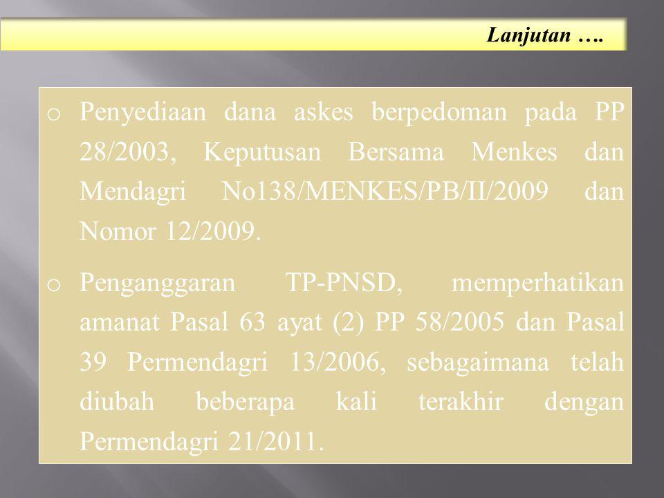 Lanjutan …. Penyediaan dana askes berpedoman pada PP 28/2003, Keputusan Bersama Menkes dan Mendagri No138/MENKES/PB/II/2009 dan Nomor 12/2009.