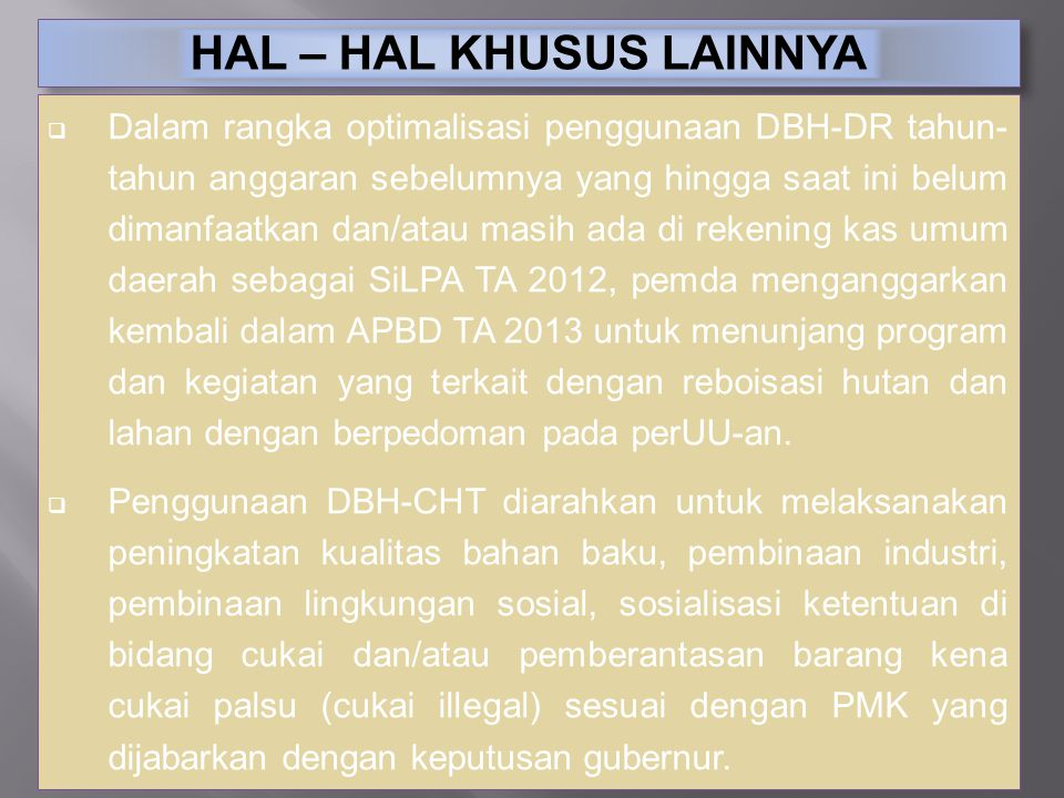 HAL – HAL KHUSUS LAINNYA