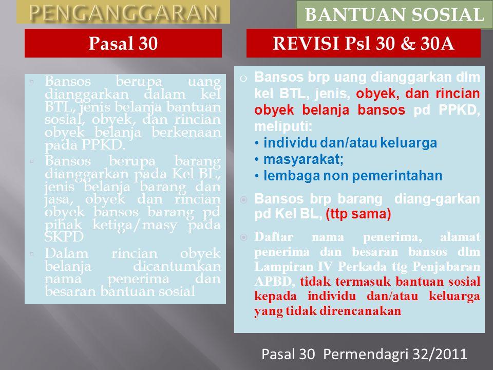 PENGANGGARAN BANTUAN SOSIAL Pasal 30 REVISI Psl 30 & 30A